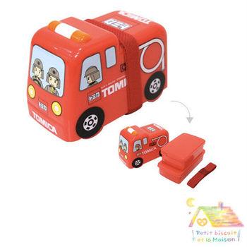 日本進口 立體雙層 車車 便當盒/ 午餐盒 (消防車)