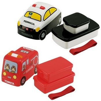 日本進口 立體雙層 車車 便當盒/ 午餐盒 兩入一組(消防車+警車)