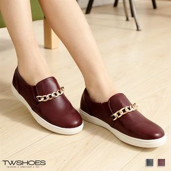 【TOMO】素色皮質金屬鍊飾休閒懶人鞋【K160A2998】