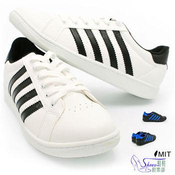 【Shoes Club】【041-12026】休閒鞋.台灣製MIT 百搭經典復古縫線耐穿休閒男滑板鞋.2色 黑藍/白黑