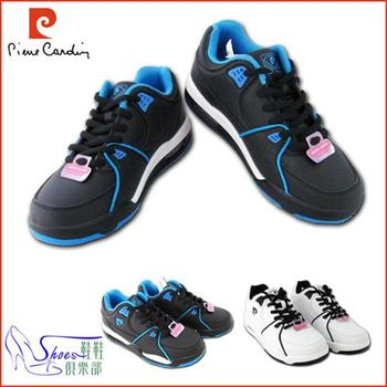 【ShoesClub】【167-PDL7287】皮爾卡登Pierre Cardin釋壓 皮革雙鞋面 氣墊休閒運動鞋.2色 白/藍 (男鞋)