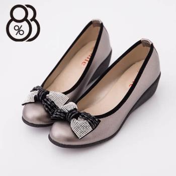 【88%】台灣製 嚴選鑲鑽蝴蝶結 增高楔型厚底懶人鞋 2色