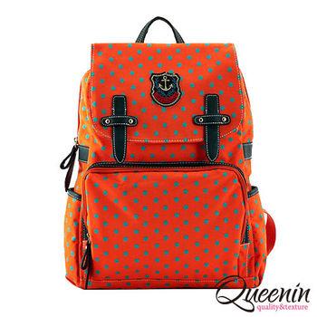 DF Queenin日韓 - 韓版學院風拉鍊式點點後背包-共2色