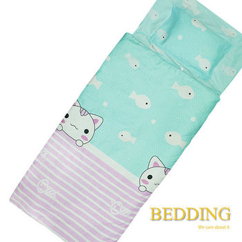 BEDDING 貓愛魚  100%棉 多功能冬夏兩用鋪棉兒童睡袋