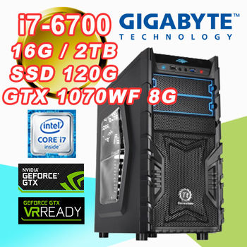 |技嘉H170平台|Intel i7-6700四核 16G記憶體 2TB超大容量 SSD 120G GTX1070WF 8G VR虛擬實境桌上型電腦