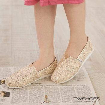 【TOMO】蕾絲金蔥乳膠墊平底懶人鞋【K160A3204】
