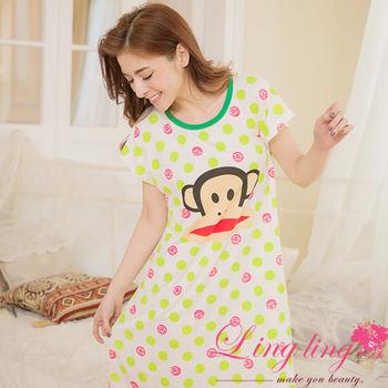 lingling日系 全尺碼-牛奶絲卡通猴子點點居家連身裙睡衣(蘋果綠)A2862-01