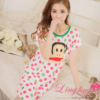 lingling日系 全尺碼-牛奶絲卡通猴子點點居家連身裙睡衣(俏皮桃粉)A2862-02
