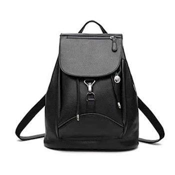 【L.Elegant】韓版新潮學院風扣環式雙肩後背包_黑色