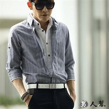 【男人幫】日系吸睛無比單扣格紋七分袖襯衫(S5186)