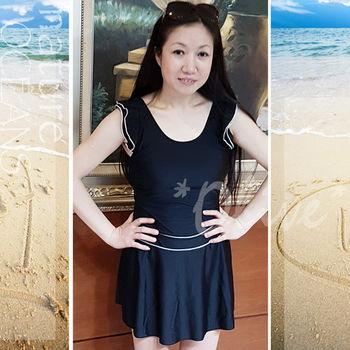 【紅色浪漫品牌】極簡素雅款式時尚短袖連身裙泳裝 NO.16023 (現貨+預購)