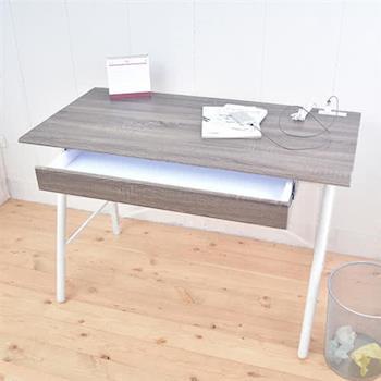【凱堡】北歐風工作桌 立體浮雕PC書桌 桌子120公分 (充電插座)