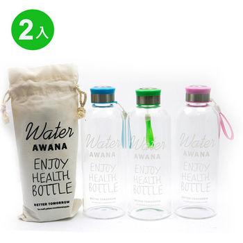 AWANA 透明玻璃塗鴉水瓶1000ml 2入組