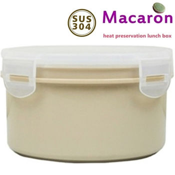 【卡滋*買1送1 】馬卡龍隔熱餐盒920cc/大號便當盒便當盒/保鮮盒(焦糖x2)