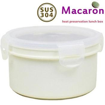 【卡滋#買1送1 】馬卡龍隔熱餐盒920cc/大號便當盒/保鮮盒(牛奶白x2)