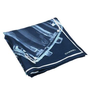 CHANEL 經典小香商品圖紋純絲材質方巾/絲巾(藍)
