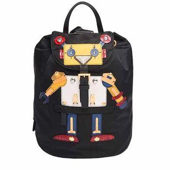 PRADA TESSUTO三角LOGO尼龍束口穿釦雙口袋Robot造型後背包(黑X黃)