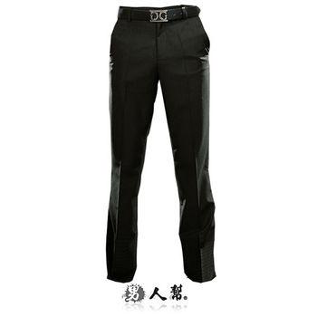 【男人幫】貴氣黑格紋窄版直筒西裝褲(K0427)