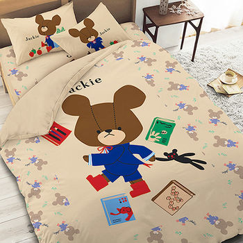 【享夢城堡】小熊學校 讀書樂系列-雙人床包涼被組(綠.卡其)