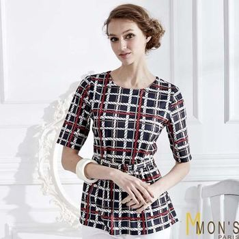 Mons法式時尚格紋五分袖上衣