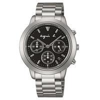 ~agnes b.~王者風範 三眼時計鋼帶腕錶 ^#45 黑x銀 ^#47 40mm ^#