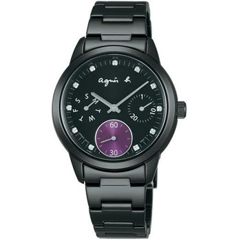 【agnes b.】Swarovski水晶 法式優雅時尚女錶-黑X紫/34mm (VD75-00A0SD/BP6006J1)