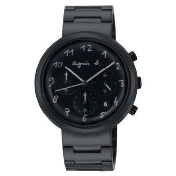 【agnes b.】法式休閒時尚鋼帶腕錶-黑(VD53-KC30SD/BT3027X1)
