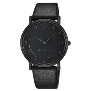 【agnes b.】極簡法式風格優雅時尚皮帶腕錶-黑(7N00-0BC0N/BG4008P1)