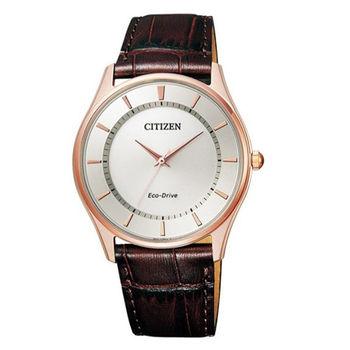 CITIZEN 星辰 光動能復古簡約大三針皮帶腕錶/37mm/BJ6483-01A