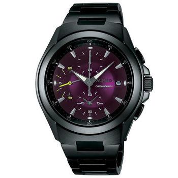 【ALBA】WIRED宇宙軌道計時時尚腕錶7T92-X221T-黑紫色/41mm