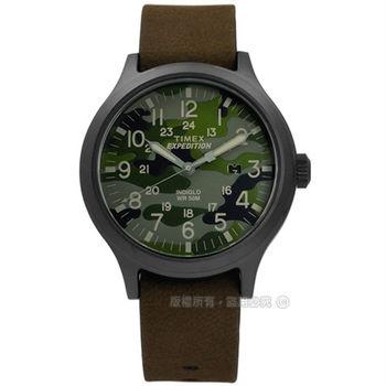 TIMEX 天美時/ TXT4B06600 / INDIGLO 美國復古迷彩遠征系列日期真皮手錶 迷彩綠x黑框x深褐 43mm
