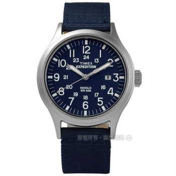 TIMEX 天美時/ TXT4B07000 / INDIGLO 美國復古遠征系列日期帆布真皮手錶 藍x藍+卡其 40mm
