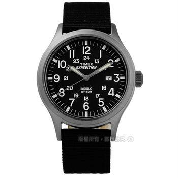 TIMEX 天美時/ TXT4B06900 / INDIGLO 美國復古遠征系列日期帆布真皮手錶 黑x黑+咖啡 40mm