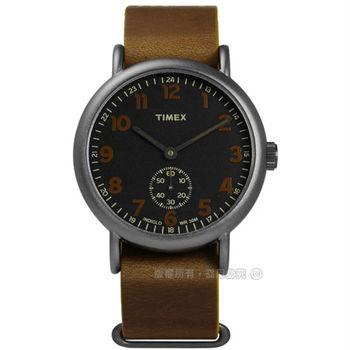 TIMEX 天美時/ TXT2P86800 / INDIGLO 美國復古美學簡約獨立秒針真皮手錶 黑x褐 40mm