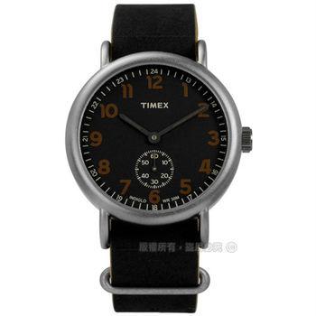 TIMEX 天美時/ TXT2P86700 / INDIGLO 美國復古美學簡約獨立秒針真皮手錶 黑色 40mm