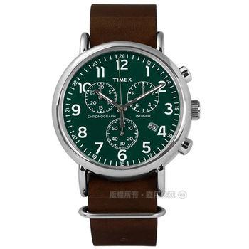 TIMEX 天美時/ TXT2P97400 / INDIGLO 美國復古週末百搭系列日期真皮手錶 綠x咖啡 40mm