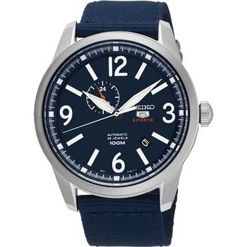 SEIKO 精工5號盾牌24石紳士風機械腕錶-藍/42mm 4R37-01D0B(SSA301J1)