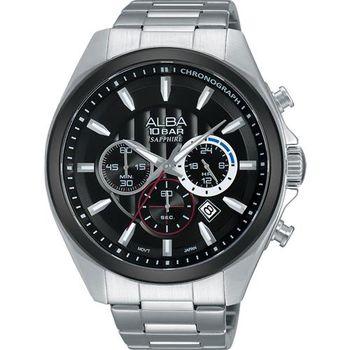ALBA 即動宣言計時腕錶-黑/45mm VD53-X219D(AT3833X1)