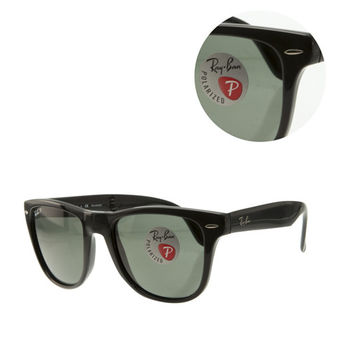 【Ray Ban】經典雷朋WAYFARER摺疊偏光墨綠全黑框太陽眼鏡-大版(RB4105 601/58 54)