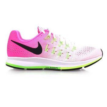 【NIKE】AIR ZOOM PEGASUS 33女慢跑鞋-路跑 白粉
