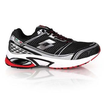 【LOTTO】男碟形避震跑鞋III-路跑 慢跑 夜跑 訓練 黑紅銀