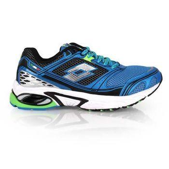 【LOTTO】男碟形避震跑鞋III-路跑 慢跑 夜跑 訓練 藍螢光綠銀