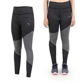 【PUMA】女色塊拼接緊身長褲-慢跑 路跑 健身 黑銀