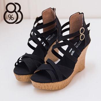 【88%】台灣製 交叉繞帶皮革 前3後10CM厚底楔型仿木紋拉鍊羅馬涼鞋 2色