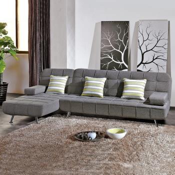 Bernice-布魯斯L型布沙發椅組合/沙發床-送抱枕