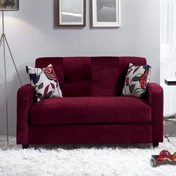 Bernice-迪莉亞酒紅色雙人座絨布沙發-送抱枕