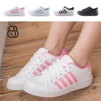 【88%】台灣製條紋貝殼頭綁帶運動休閒鞋(2色)