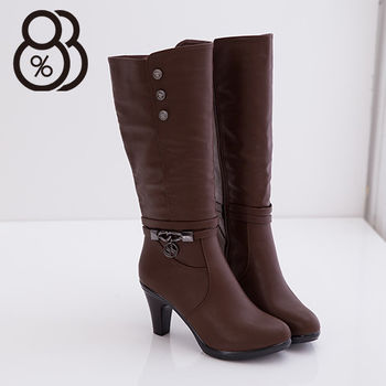 【88%】金屬扣飾拉環內拉鍊高跟馬汀長靴 2色