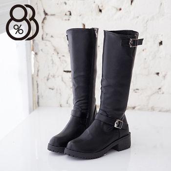 【88%】時尚側拉環拉鍊式防滑膠底皮革長筒機車靴 2色
