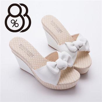 【88%】編織拼接布面繩 俏麗蝴蝶結高跟鞋(2色)